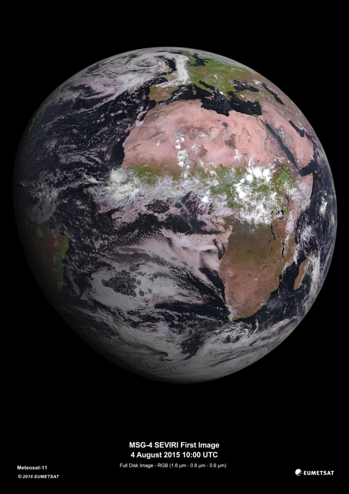 European Space Agency fourth Meteosat Second Generation (MSG-4) photo taken August 4, 2015