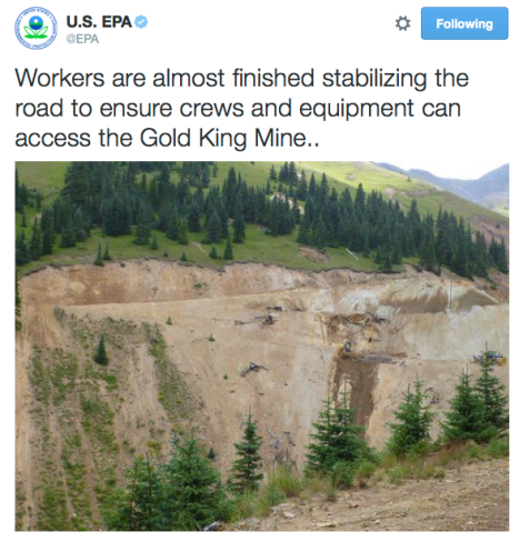 Gold King Mine access road August 2015 via the EPA/Twitter
