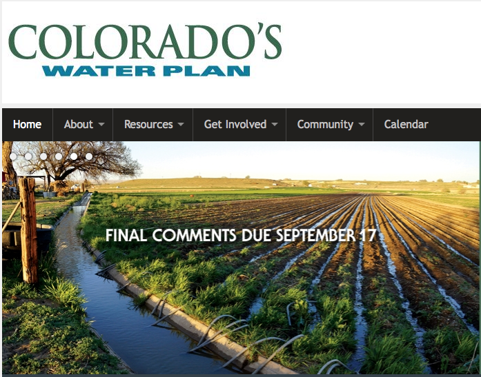 Colorado Water Plan screen shot August 1, 2015