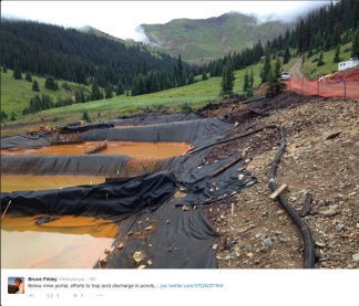Emergency detention ponds Gold Hill Mine spill August 2015 via Bruce Finley