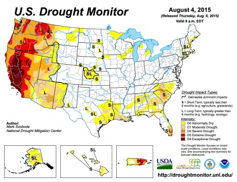 US Drought Monitor August 4, 2015