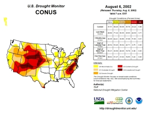 US Drought Monitor August 6, 2002