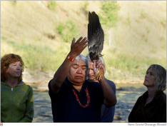 """Water is life; water is sacred,"" said Southern Ute Sun Dance Chief Kenny Frost, who led a ceremony to heal the Animas River on Sunday at sunrise at Santa Rita Park in Durango"