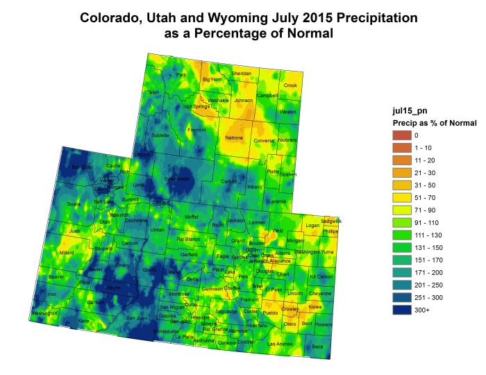Upper Colorado River Basin July 2015 precipitation as a percent of normal