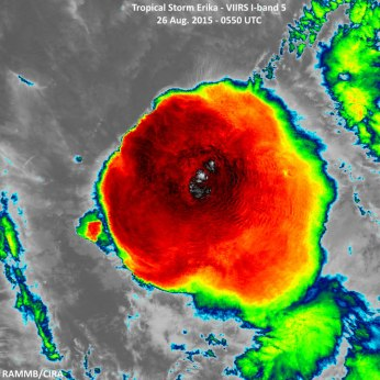 This image is a VIIRS IR image using band 5 of Tropical Storm Erika taken during an overnight pass on August 26, 2015 Credit: NOAA/NASA RAMMB/CIRA