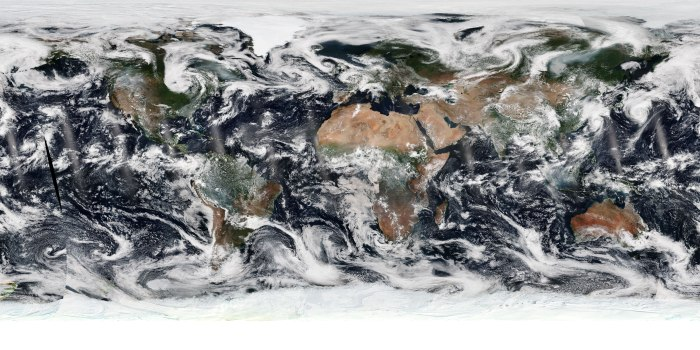 This true color image may seem like you are looking at Earth from space, but it is actually produced by combining specific data sets from the NOAA/NASA Suomi NPP satellite's Visible Infrared Imaging Radiometer Suite instrument, known as VIIRS, into one composite image.