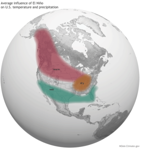 Average influence of El Niño on US temperature and precipitation