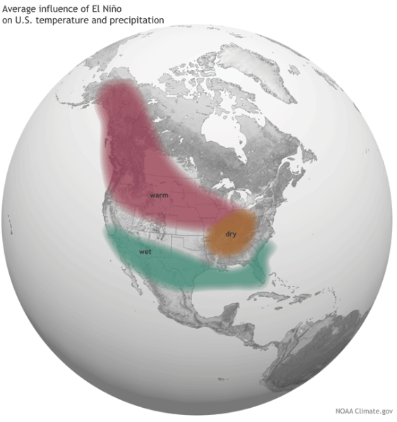 Average influence of El Niño on US temperature and precipitation