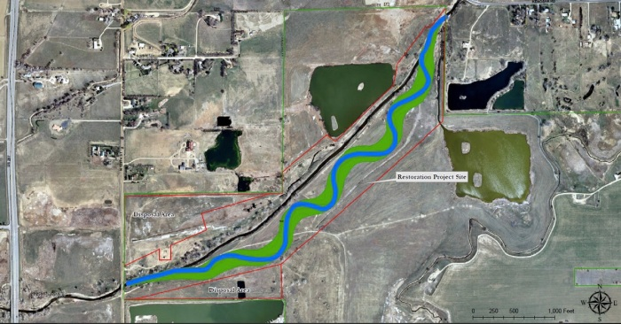 Lower Boulder Creek Restoration site map via Boulder County Open Space