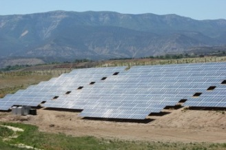 Solar panels, such these at the Garfield County Airport near Rifle, Colo., need virtually no water, once they are manufactured. Photo/Allen Best
