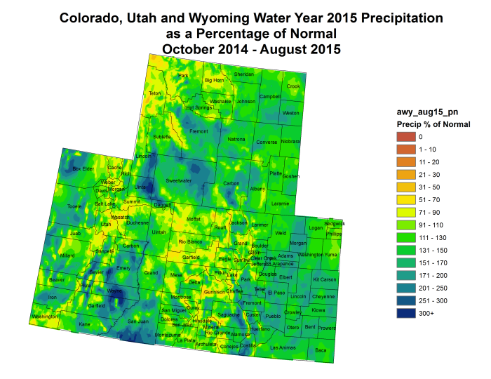 Upper Colorado River Basin water year 2015 precipitation as a percent of normal through August 31, 2015