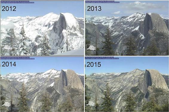 Yosemite National Park 2012 through 2015 via the Huffington Post