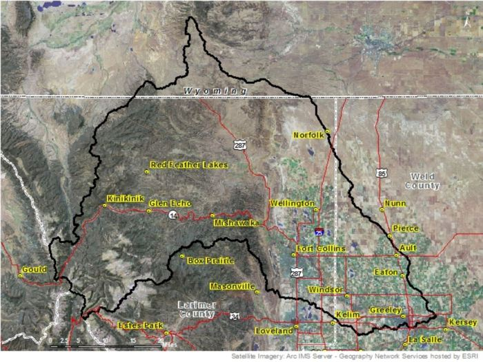 Cache la Poudre River watershed via the NRCS