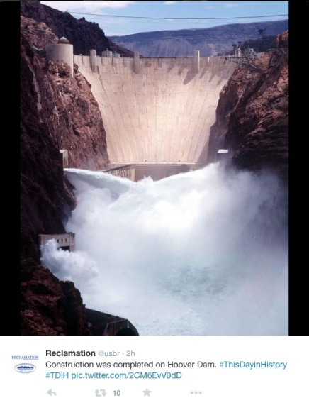 Hoover Dam spilling back in the day.