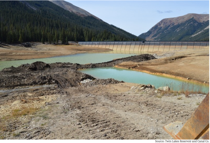 A recent photo of the water behind the Lincoln Gulch Diversion Dam on Lincoln Creek that forms Grizzly Reservoir. Repairs to the outlet gate were completed on Oct. 6 without having to drain the standing water at the bottom of the reservoir.