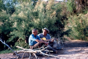 In the midst of a research expedition in Cataract Canyon, Utah, former USGS Chief Hydrologist Luna Leopold and eminent physicist Ralph Bagnold take a moment to rest