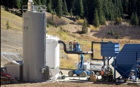 The Environmental Protection Agency's temporary water-treatment facility at Gold King Mine, October 2015, via Steve Lewis/The Durango Herald.