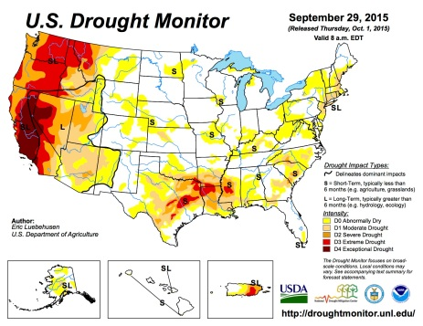 US Drought Monitor September 29, 2015