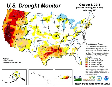 US Drought Monitor October 6, 2015