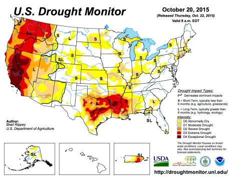 US Drought Monitor October 20, 2015