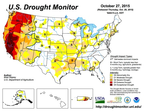 US Drought Monitor October 27, 2015