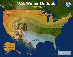 emperature - U.S. Winter Outlook: 2015-2016  (Credit: NOAA)