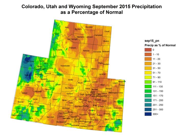 Upper Colorado River Basin September 2015 precipitation as a percent of normal