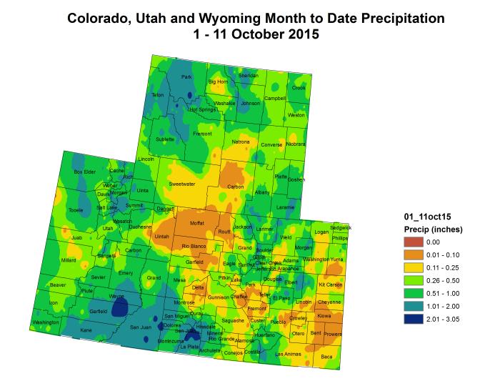 Upper Colorado River Basin month to date precipitation October 1 through October 12, 2015 via the Colorado Climate Center