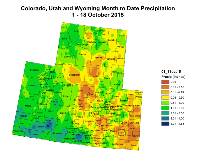 Upper Colorado River Basin month to date precipitation through October 18, 2015 via the Colorado Climate Center