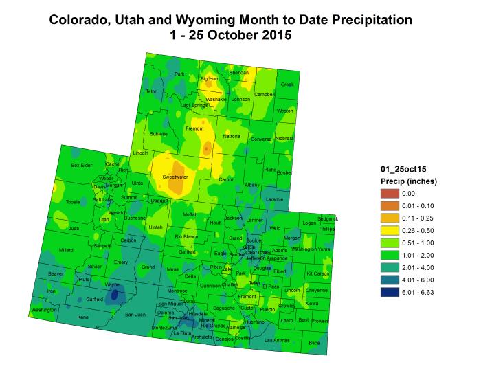 Upper Colorado River Basin month to date precipitation October 1 through October 25, 2015