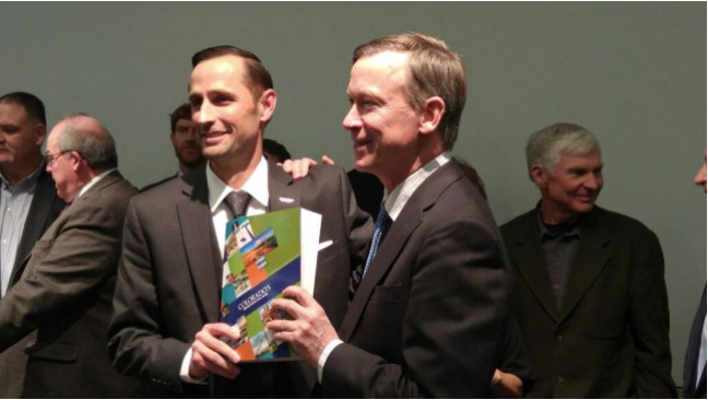 James Eklund and Governor Hickenlooper roll out the Colorado Water Plan, Thursday, November 19, 2015 via The Colorado Independent