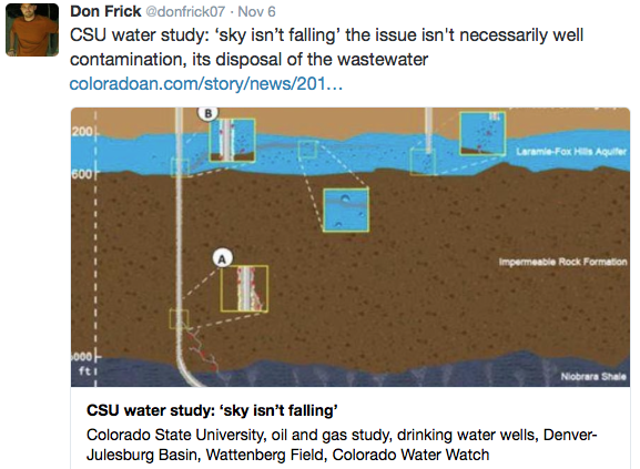 "The issue: ""...it's disposal of wastewater."" -- Don Frick"