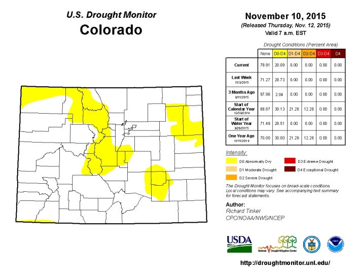Colorado Drought Monitor November 10, 2015