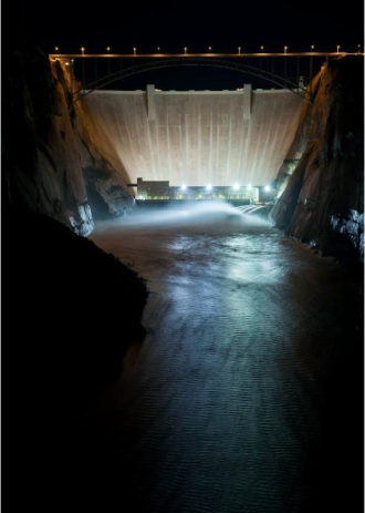 Glen Canyon Dam releases. Photo via Twitter and Reclamation