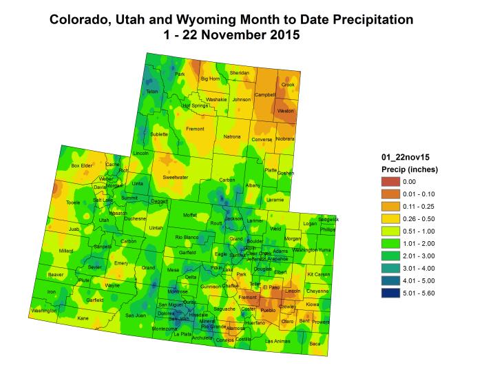 Upper Colorado River Basin month to date precipitation through November 22, 2015 via the Colorado Climate Center