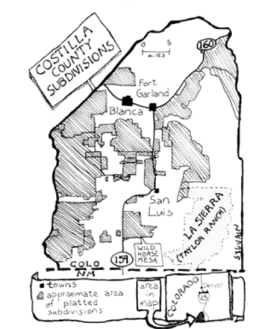 Sangre de Cristo Land Grant, La Sierra Common, and Subdivisions. La Sierra is the 80,000-acre common land or ejido. Map courtesy of High Country News at URL: https://www.hcn.org/issues/104/3250.
