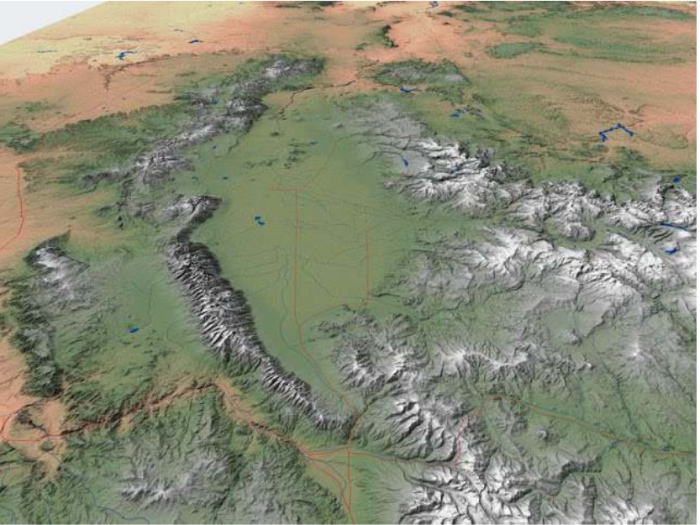 Fig. 1. San Luis Valley. In this perspective, S is on top. Costilla County is along the edge of the southeastern side of the Valley between the Sangre de Cristo sub-range known as the Culebra Mountains (on the E) and the Rio Grande (on the W); upper left quadrant within SLV on this map. Source: http://geogdata.scsun.edu.