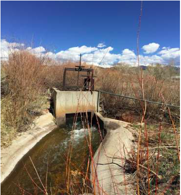 Fig. 4. San Pedro Acequia. The headgate of the second oldest acequia in Colorado. Photo by Devon G. Peña