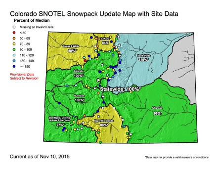 Colorado statewide snowpack map November 10. 2015