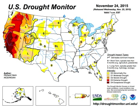 US Drought Monitor November 24, 2015