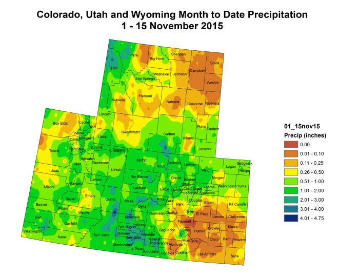 Upper Colorado River Basin month to date precipitation through October 15, 2015