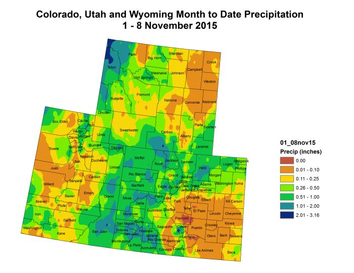 Upper Colorado River Basin month to date precipitation through November 8, 2015