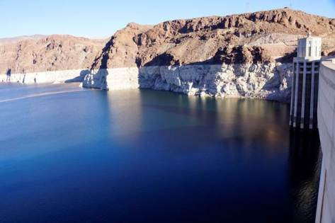 Lake Mead behind Hoover Dam December 2015 via Greg Hobbs.