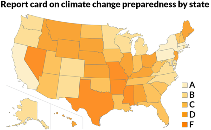 REPORT CARD  Some states aren't prepared for extreme events such as wildfires and droughts expected to result from climate change, a new survey suggests. Arkansas, Texas and Nevada were among those that scored a failing grade.