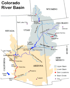 The Colorado River Basin is divided into upper and lower portions. It provides water to the Colorado River, a water source that serves 40 million people over seven states in the southwestern United States. Colorado River Commission of Nevada