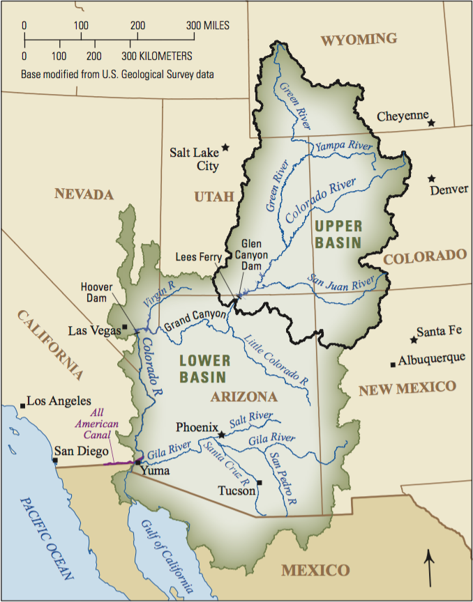 The Colorado River Basin. The Upper Colorado River Basin is outlined in black.