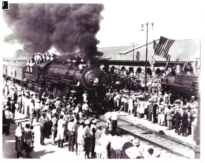 First Train in Phoenix. Image Courtesy of the Arizona Historical Society.