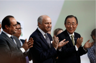 From left, President François Hollande of France; Laurent Fabius, the French foreign minister; and United Nations Secretary General Ban Ki-moon during the climate change conference [December 2015] in Le Bourget, near Paris. (Credit Francois Mori/Associated Press)