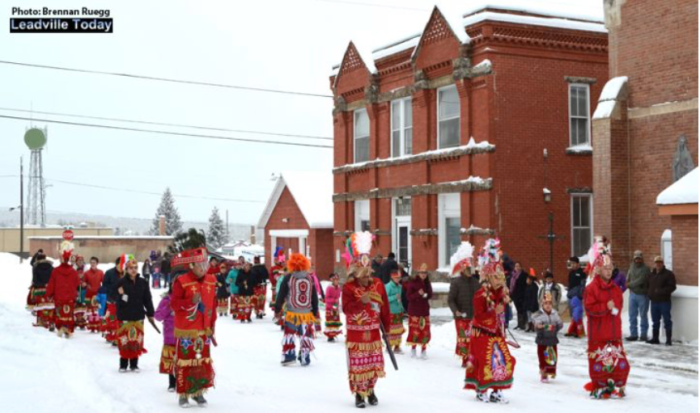 While the near foot of snow that came in with the early morning storm may have altered the Our Lady of Guadalupe procession into town, the dance troupe did not disappoint as they performed in sub-freezing temperatures at Annunciation Church in Leadville on December 12. Thanks for your dedication! Photo: Leadville Today/Brennan Ruegg