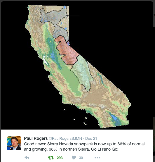 California snowpack December 24, 2015 via Twitter and Paul Rogers